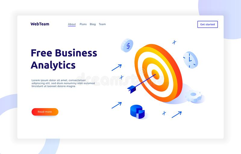 Isometric social marketing gradient style design concept with goal target, business analytics website banner stock illustration