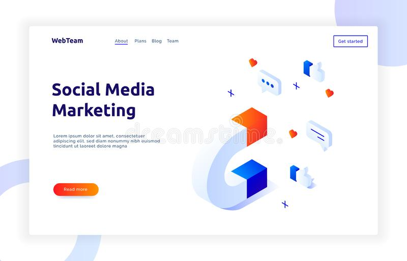 Isometric social marketing gradient style design concept with magnet, hearts, messages, media business analytics website banner. Template royalty free illustration