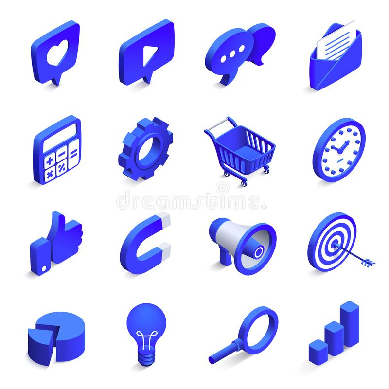 Isometric social marketing. Inbound and outbound marketings, money magnet and like icon. 3d community network vector vector illustration