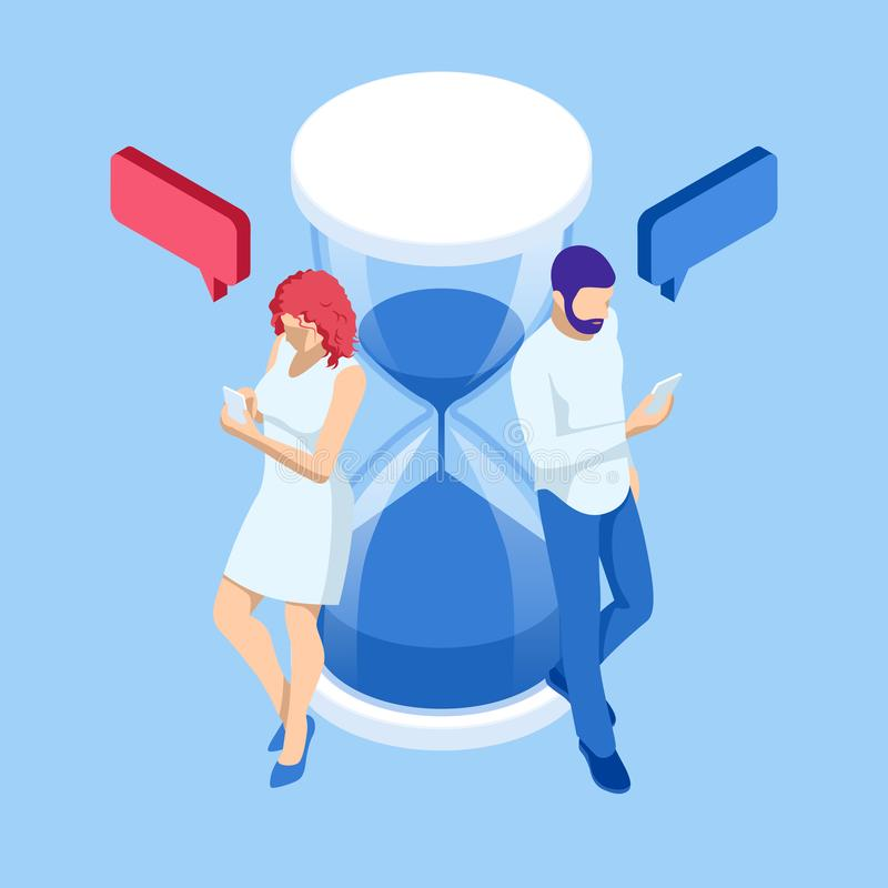 Isometric Social, media, Marketing concept. Man and woman with smartphones near the hourglass. Online chat man and woman. App icons vector illustration