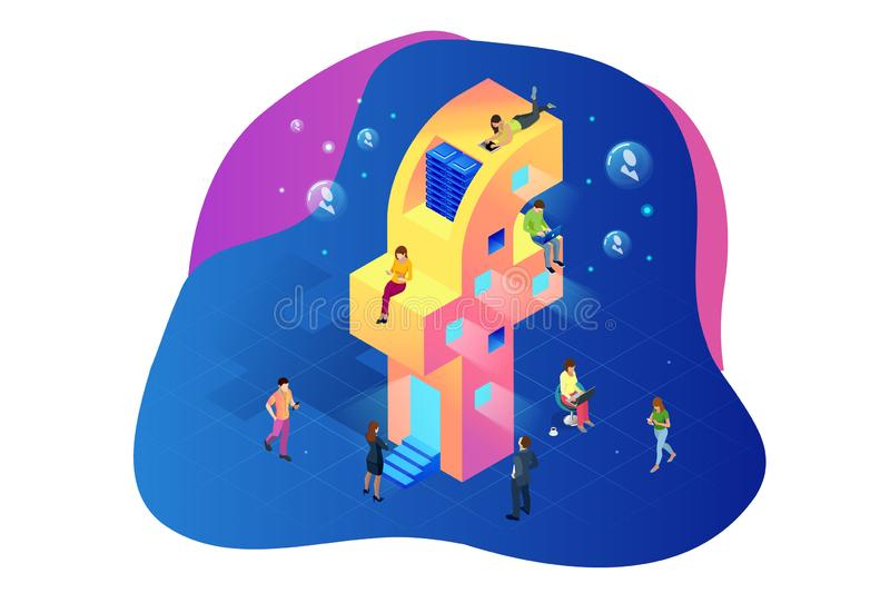 Isometric social media or social network concept. People using a smart phone, tablet and laptop for working or playing. Social network and website. Vector stock illustration