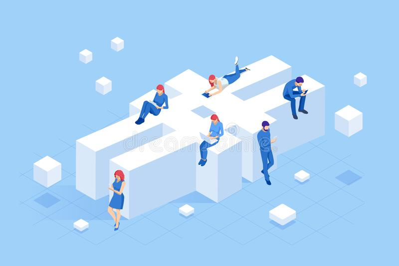 Isometric social network hashtag or hashtag blogging, Concept of hashtag for social media marketing advertising concept. Young people using mobile tablets and vector illustration