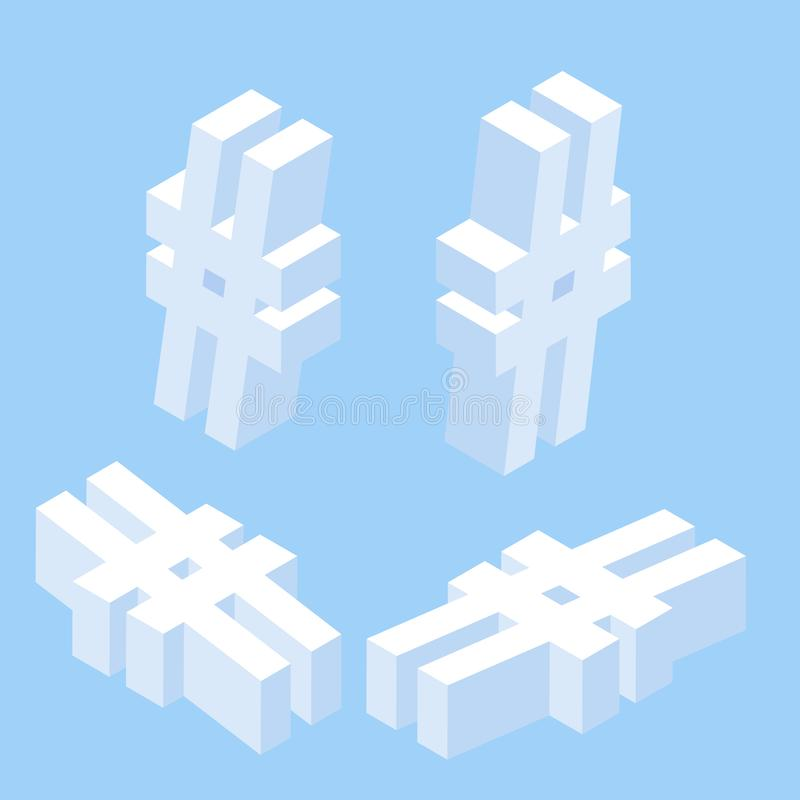 Isometric social network hashtag or hashtag blogging, Concept of hashtag for social media marketing advertising concept. Young people using mobile tablets and stock illustration