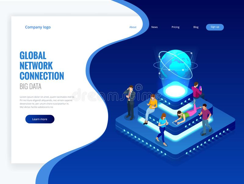 Isometric social network, technology, networking and internet concept. Global network connection, global datas exchanges. Over the globe, big data. Vector stock illustration