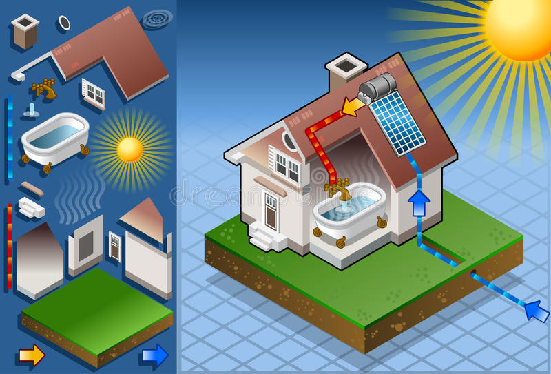 Isometric solar panel in production of hot water. Detailed animation of a Isometric solar panel in production of hot water from the sun This illustration is royalty free illustration