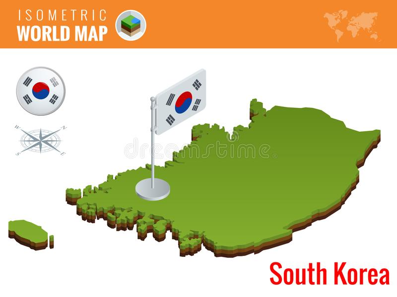 Isometric south korea political map with capital seoul vector isometric south korea political map with capital seoul vector illustration border with name of country gumiabroncs Images