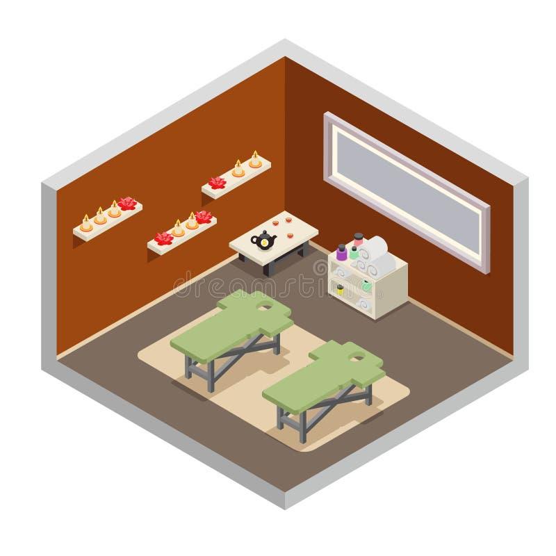 Isometric spa resort room massage equipment design flat vector illustration stock illustration
