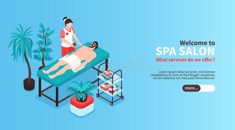 Isometric Spa Salon Banner stock abbildung