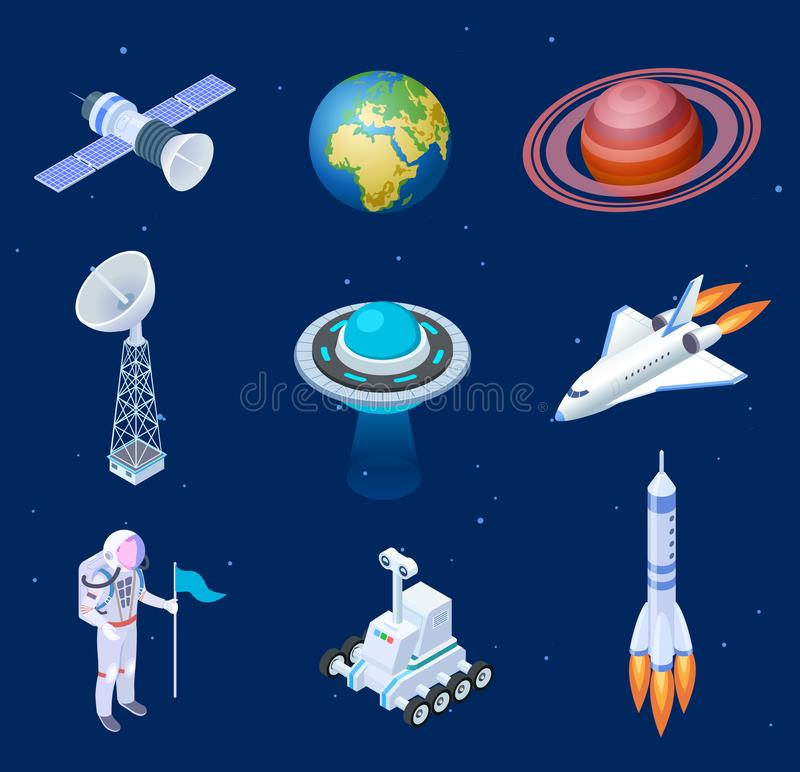 Isometric spaceships. Space satellite rocket telescope globe spaceman astronaut. Missile spacecraft 3d isolated vector vector illustration
