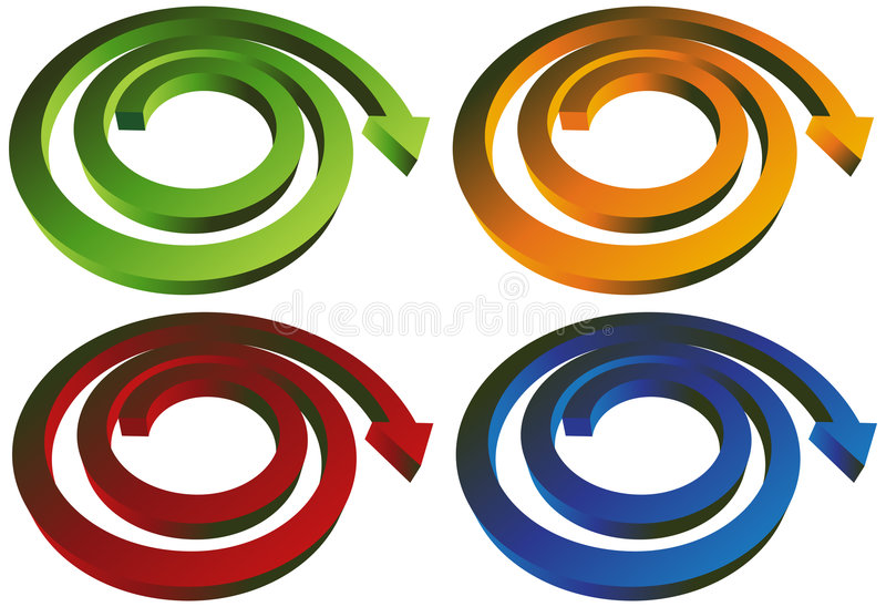 Download Isometric Spiral Arrow - Set Of 4 Royalty Free Stock Photography - Image: 9265307