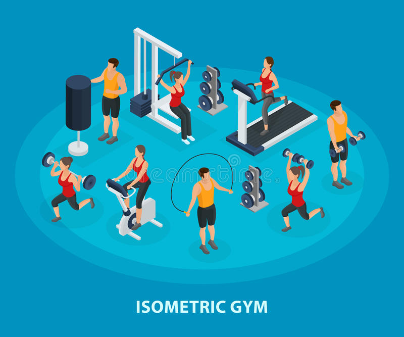 Isometric Sport And Healthy Lifestyle Concept. With people doing physical exercises using trainers dumbbells jumping rope vector illustration vector illustration