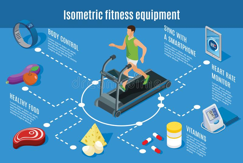 Isometric Sport Lifestyle Flowchart. With fitness exercises healthy food vitamins smart devices for body control and health monitoring isolated vector vector illustration