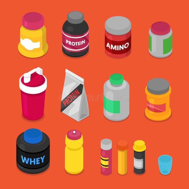 Isometric sporta Nutririon elementy z nadprogramami, Proteinowa butelka, pigułki, witaminy, serwatka royalty ilustracja