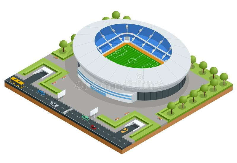 Isometric sporta stadium Futbolowa stadium piłkarski budynku wektoru ilustracja royalty ilustracja