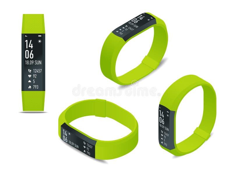 Isometric sprawność fizyczna tropiciel z smartphone odizolowywającym na bielu lub bransoletka Bawi się akcesoria, wristband z bie ilustracji