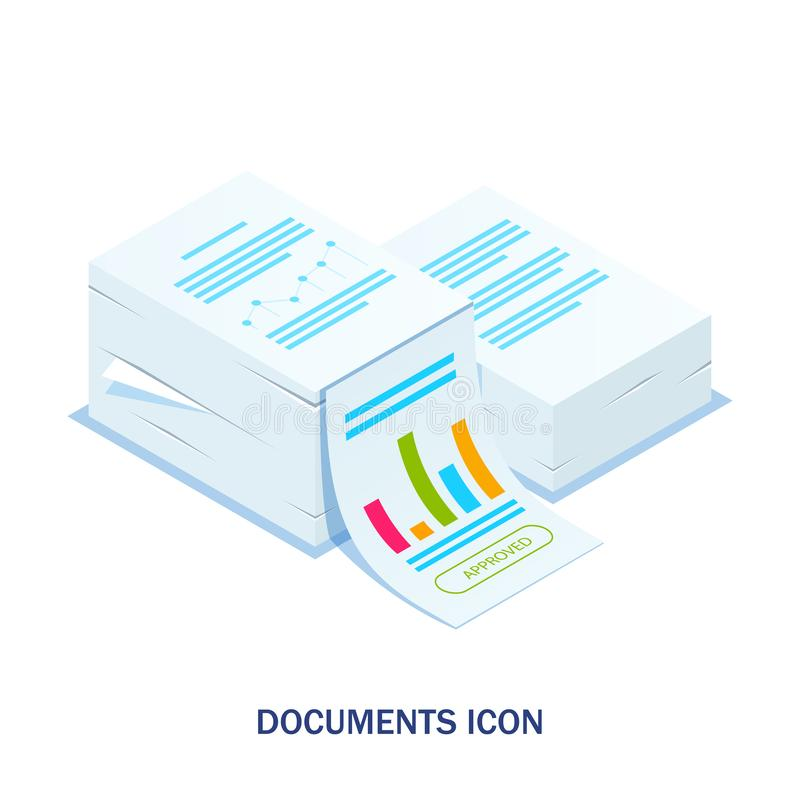 Isometric stack of documents with an approved stamp. Can use for web banner, infographics, hero images. Flat isometric vector illustration