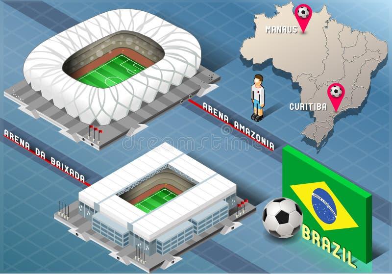 Download Isometric Stadium Of Manaus And Curitiba Brazil Editorial Stock Image