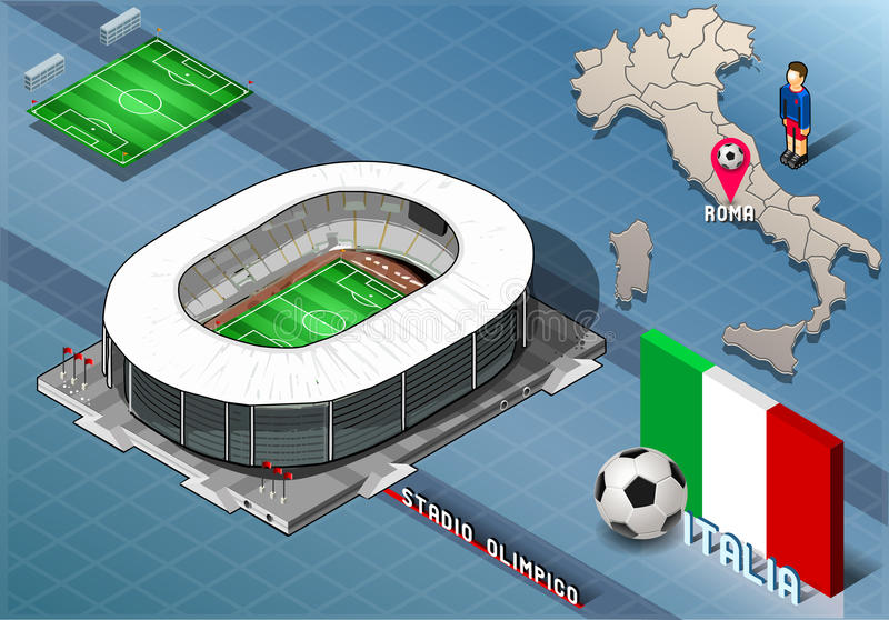 Isometric Stadium, Olimpico, Rome, Italy vector illustration