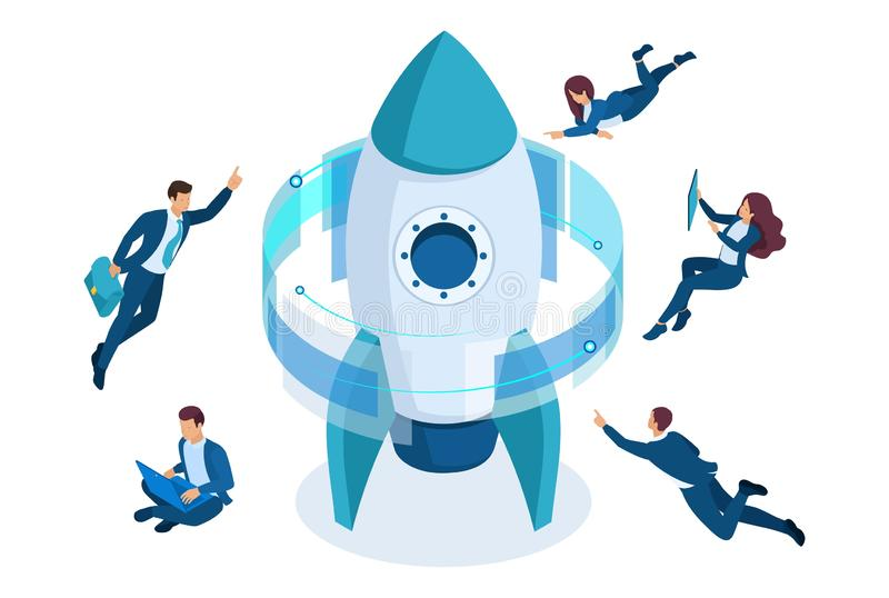 Isometric start up a business project, businessmen around the rocket, working on a virtual screen. Concept for web design royalty free illustration