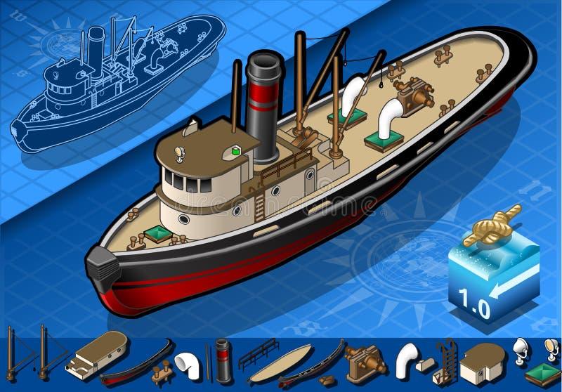Isometric stary tugboat royalty ilustracja