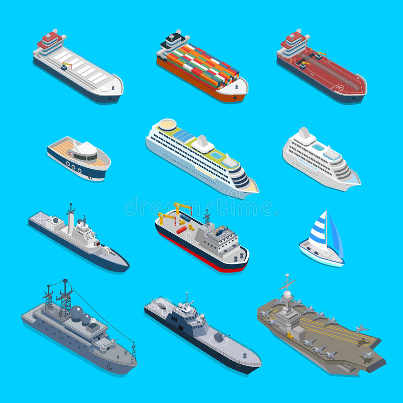 Isometric 12 statków wektorowej podróży ładunku jachtu militarny rejs ilustracja wektor
