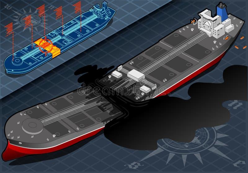 Isometric statku tankowiec Niszczący w Dwa częściach w Frontowym widoku ilustracji