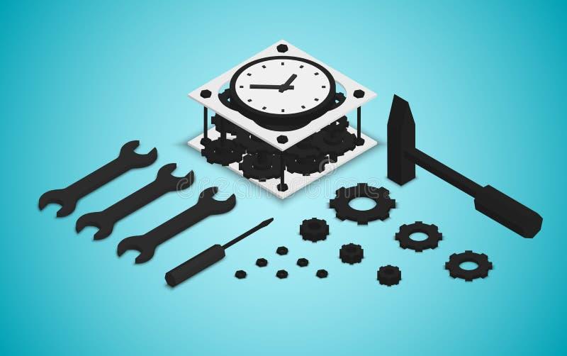 Isometric steampunk retro mechanical clock, alarm clock, vector stock illustration