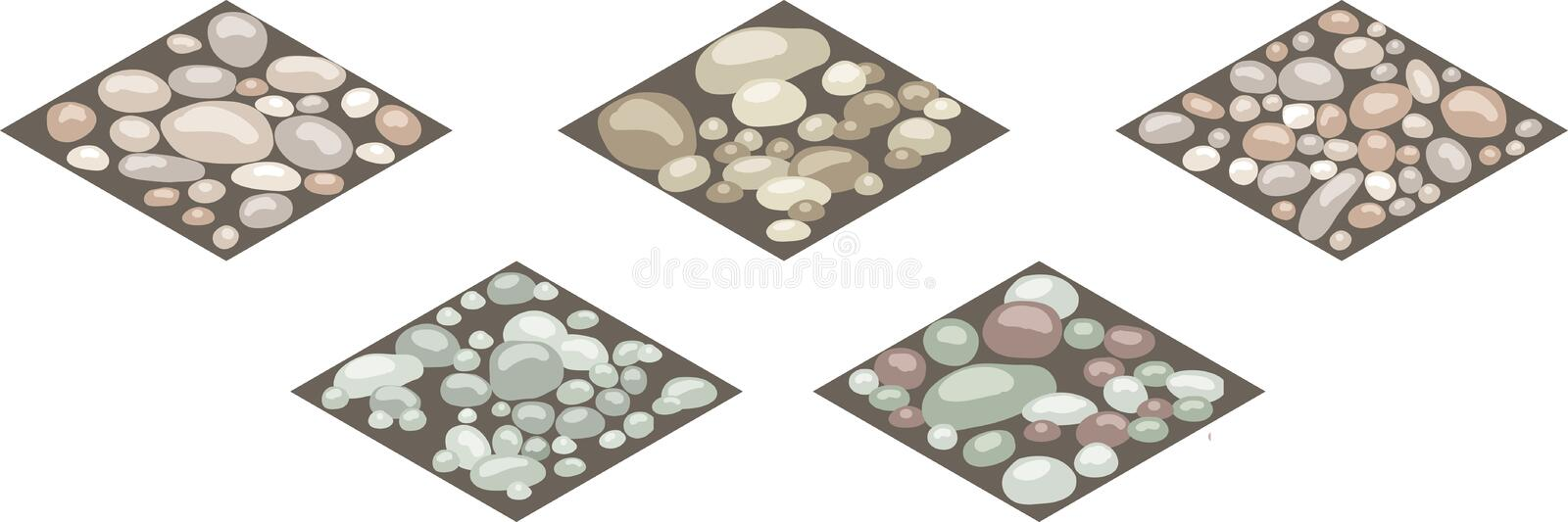 Isometric stone texture tiles. Set of stones, rocks, cobble,shingle on ground for design landscape scenes or background. Can be used in game asset, cartoon stock illustration