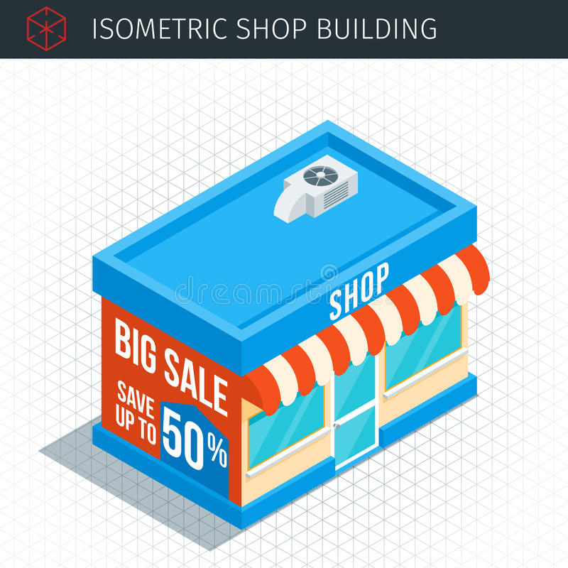 Isometric store building royalty free illustration
