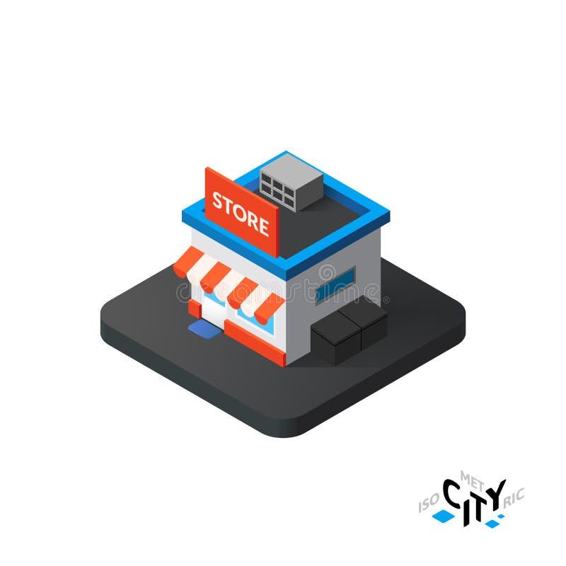 Isometric store icon, building city infographic element, vector illustration stock illustration
