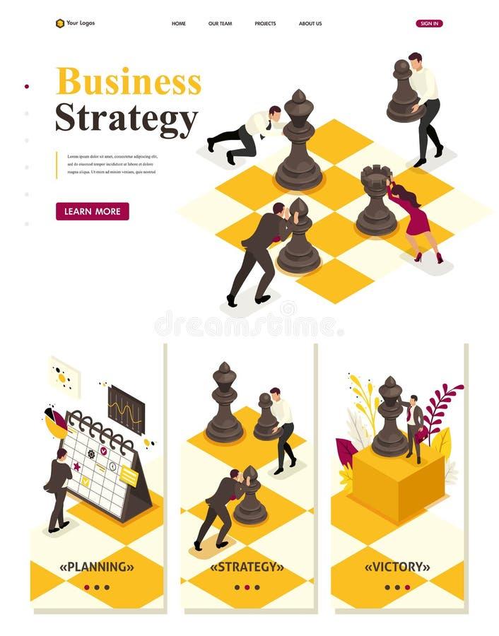 Isometric Strategiczny Biznesowy planowanie ilustracji