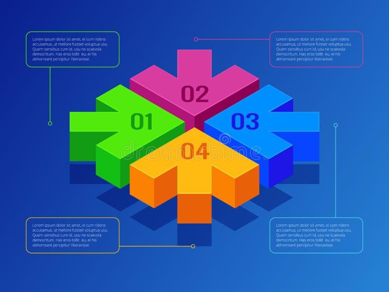 Isometric strzały z flowchart, obieg lub procesu infographics, Kolejny krok strzały dla prezentacji Wektor Odizolowywający ilustracji