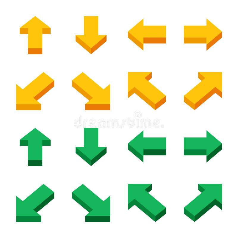 Isometric strzałkowaty ikona set ilustracji