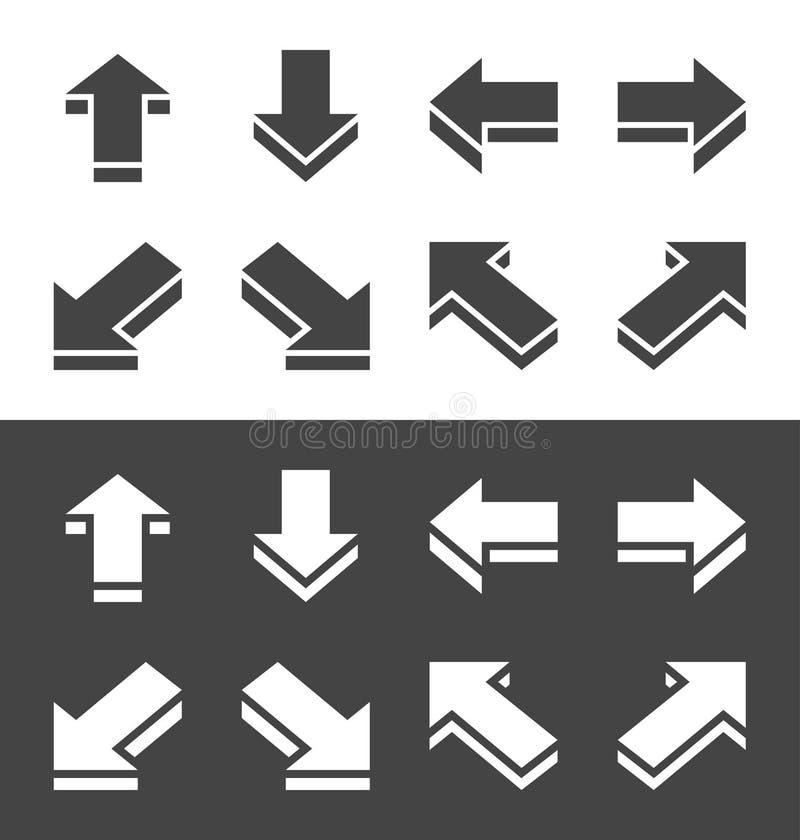 Isometric strzałkowaty ikona set royalty ilustracja