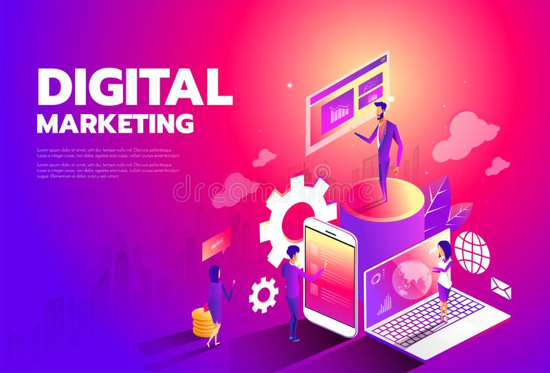 Isometric style design - Content marketing strategy, Digital marketing, Content sharing flat vector banner. stock illustration