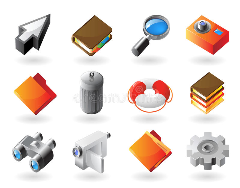 Download Isometric-style Icons For Interface Stock Vector - Illustration of buttons, interface: 14130555