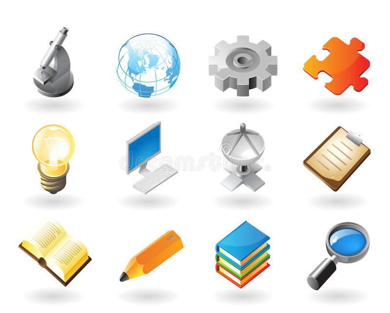 Isometric-style icons for science and industry. High detailed realistic icons for science, industry and technology vector illustration