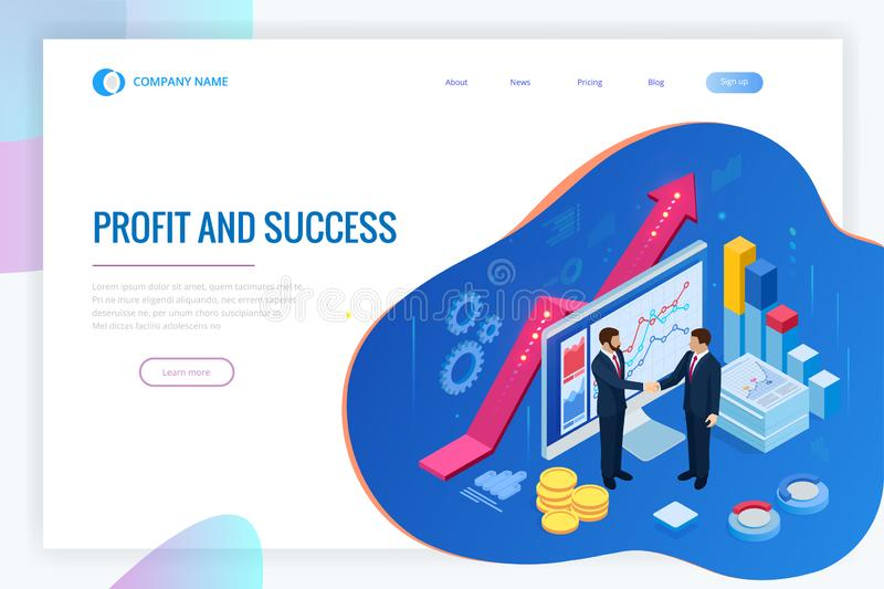 Isometric Successful business collaboration. Businessmen shaking hands. B2B. Data and key performance indicators for stock illustration