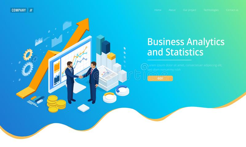 Isometric Successful business collaboration. Businessmen shaking hands. B2B. Data and key performance indicators for vector illustration