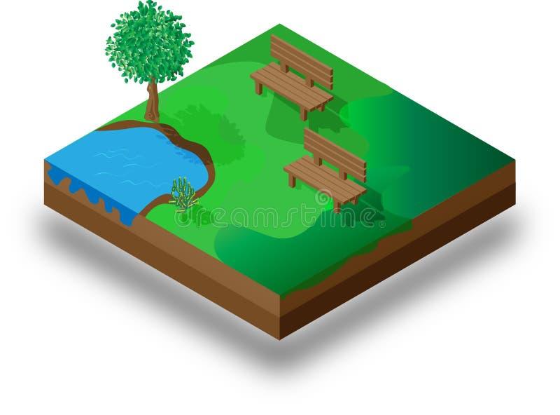 Isometric Summer Park Landscape Elements Set stock illustration