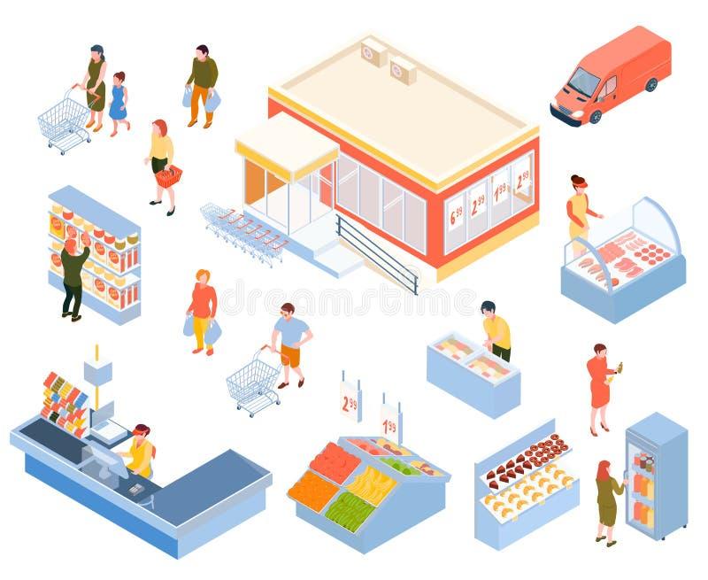 Isometric Supermarket Icons Set vector illustration