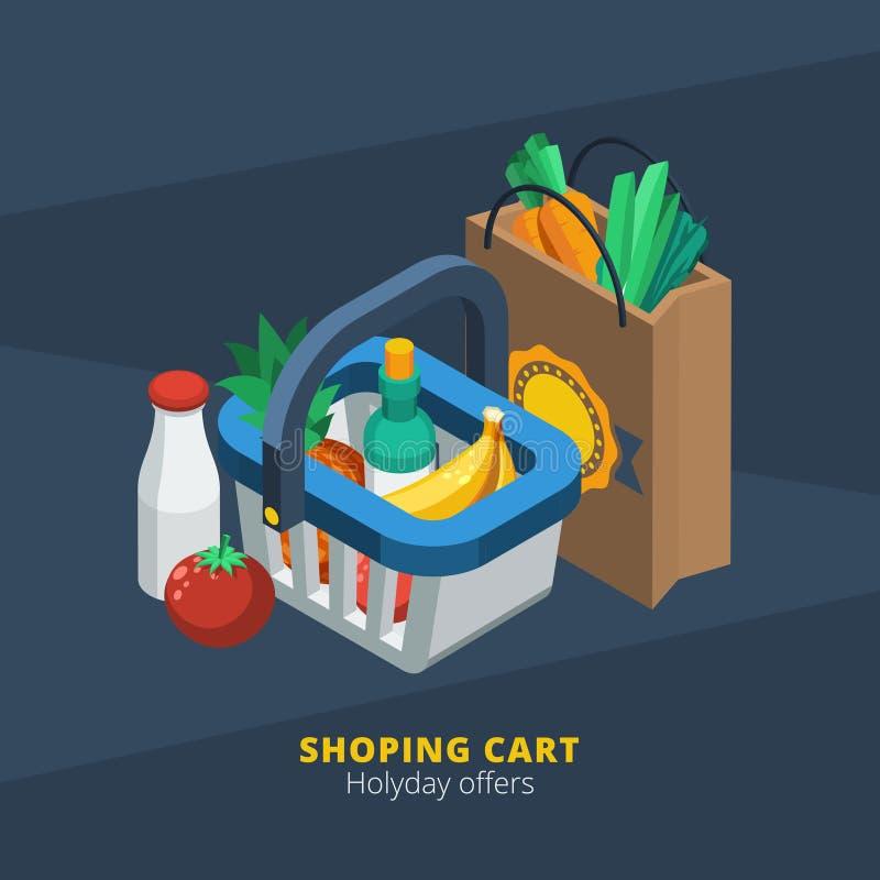 Isometric supermarket ikona royalty ilustracja