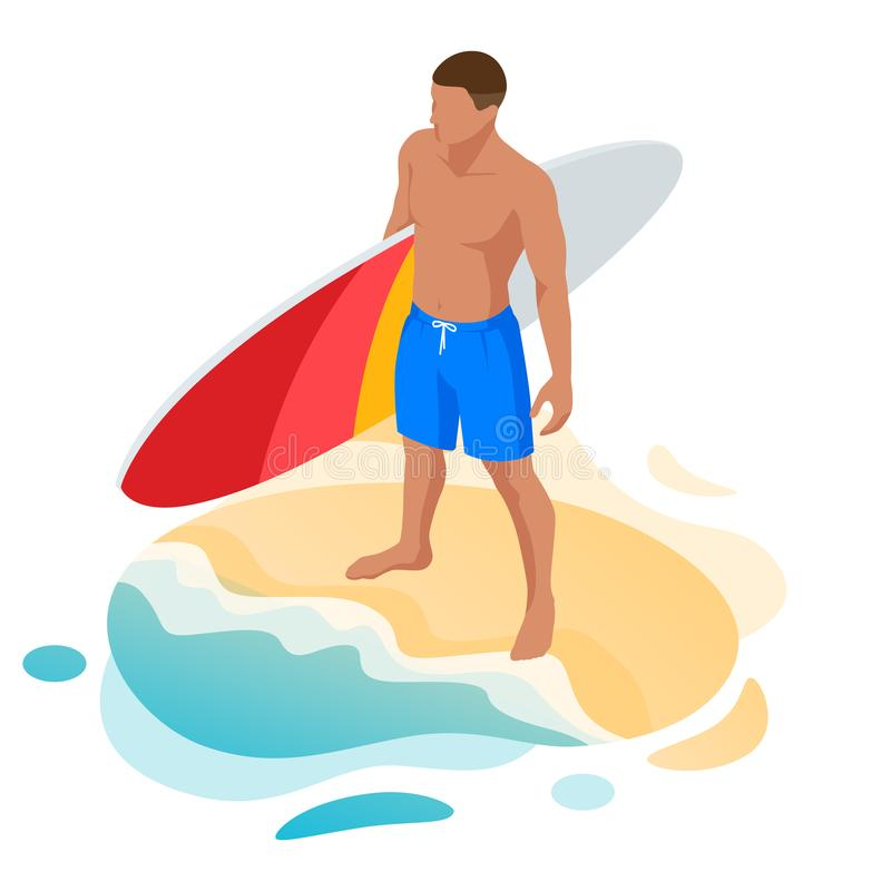 Isometric surfer male. Surfing on Summer Vacation. Beautiful young man at the beach, Water sports, Healthy Active. Lifestyle, Extreme Sport royalty free illustration
