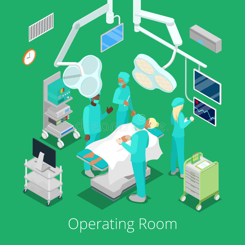 Isometric Surgery Operating Room with Doctors on Operation Process. Vector illustration stock illustration