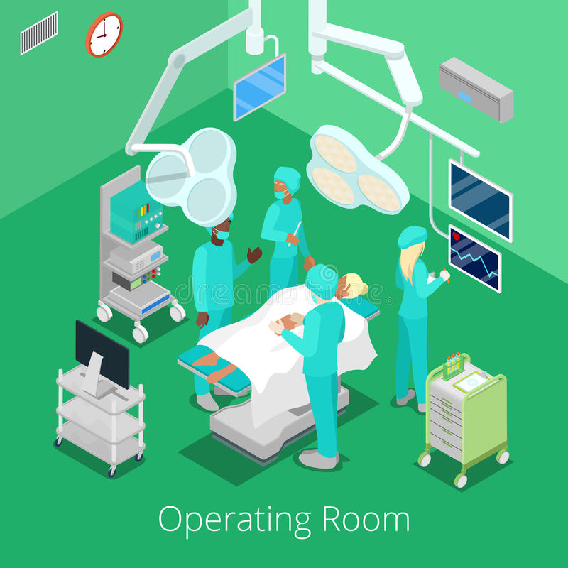 Isometric Surgery Operating Room with Doctors on Operation Process. Vector illustration royalty free illustration
