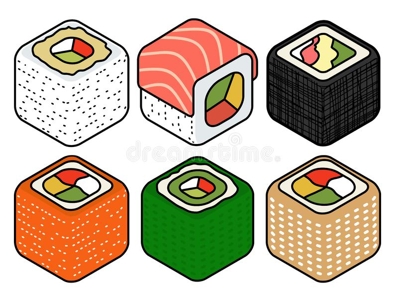 Isometric sushi icons on blue background for other categories. Appetizing Isometric set of a few kinds of sushi rolls Colorful Vector flat style design isolated royalty free illustration