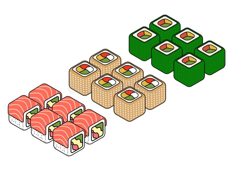 Isometric sushi icons on blue background for other categories. stock illustration
