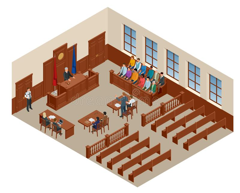 Isometric symbol of law and justice in the courtroom. Vector illustration judge bench defendant attorneys audience vector illustration