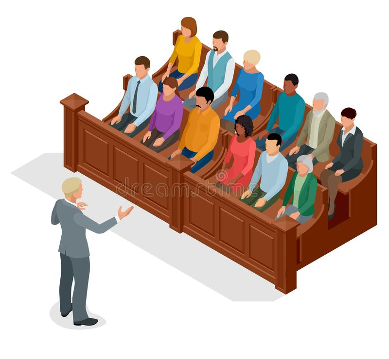 Isometric symbol of law and justice in the courtroom. Vector illustration judge bench defendant attorneys audience. Courtroom proceedings royalty free illustration