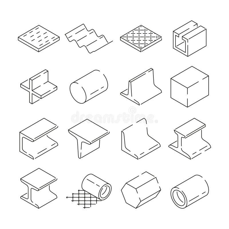 Isometric symbole hutnictwa Obrazki żelaza i stali narzędzia Wektorowa ilustracja w liniowym stylu ilustracji